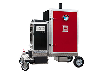 Gravity feed cabinet smokers